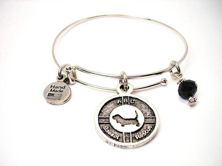 ABC Basset Hound Rescue pewter bracelet