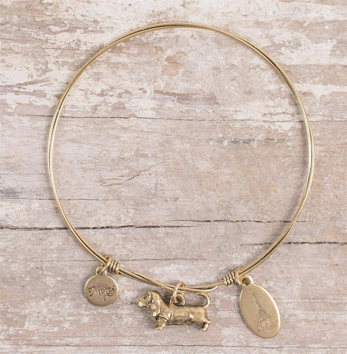 Dangle Basset Bangle Bracelet