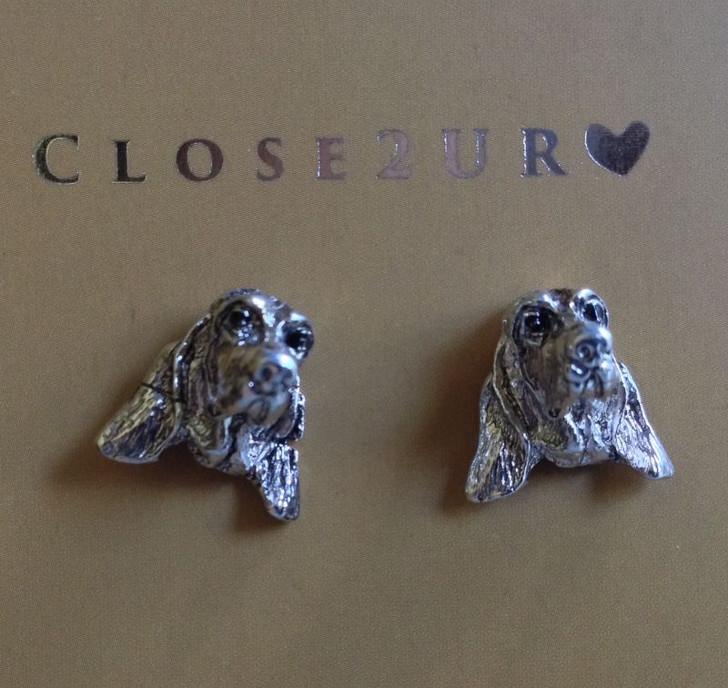 basset hound stud earrings