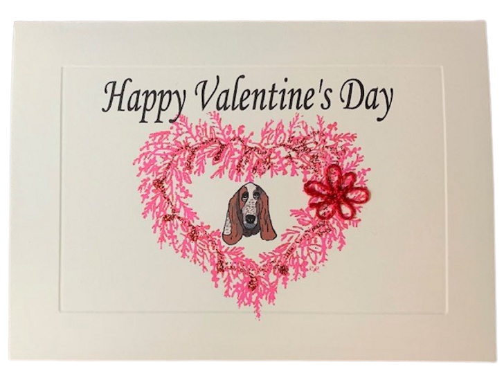 Basset Hound Tatted Lace Valentine's Card