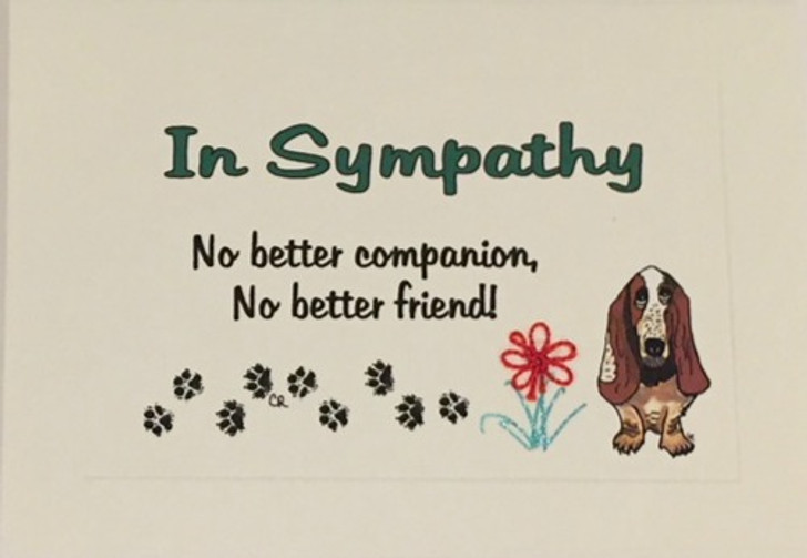 Basset Hound Tatted Lace Sympathy Card