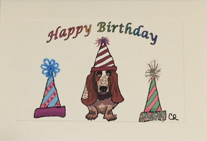 Basset Hound Tatted Lace Birthday Hat Card