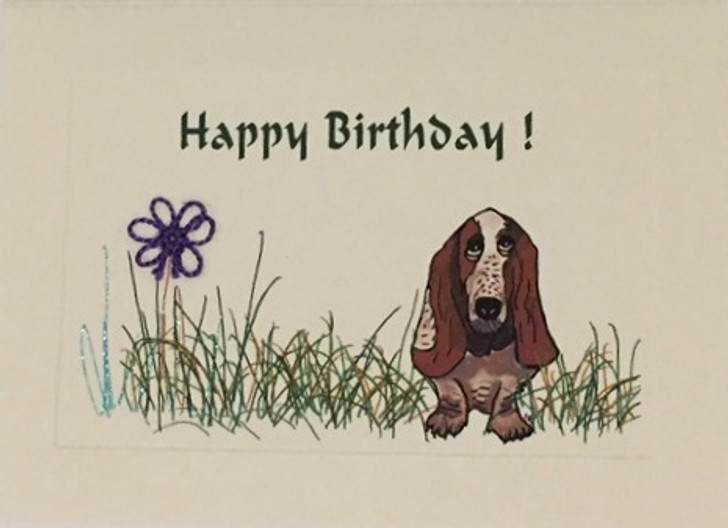 Basset Hound Tatted Lace Birthday Card
