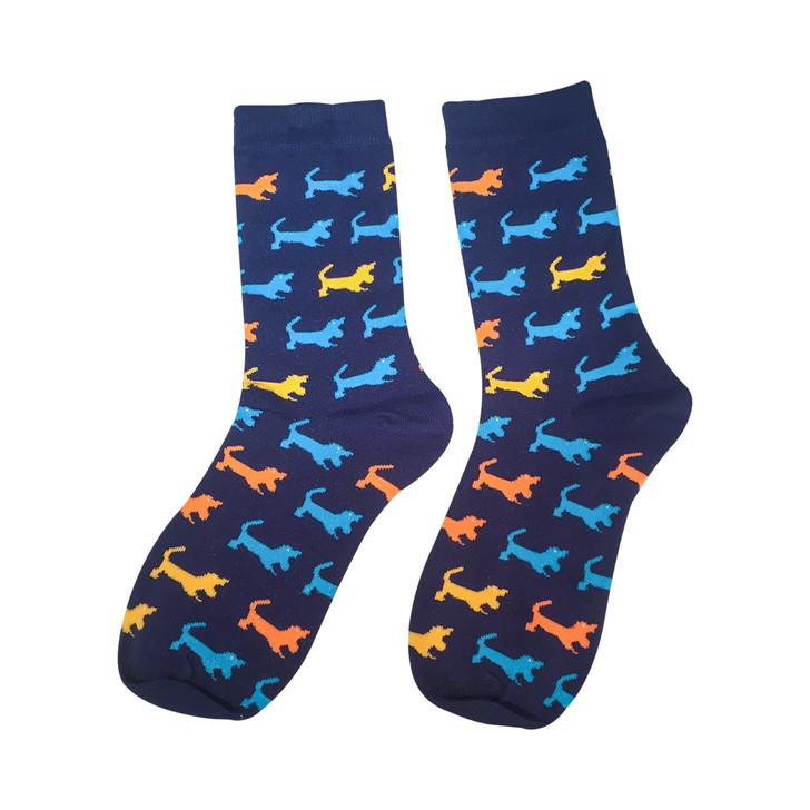 navy basset hound socks