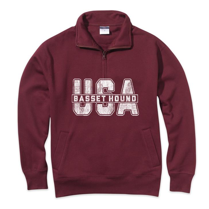 Basset Hound Quarter Zip Sweatshirt
