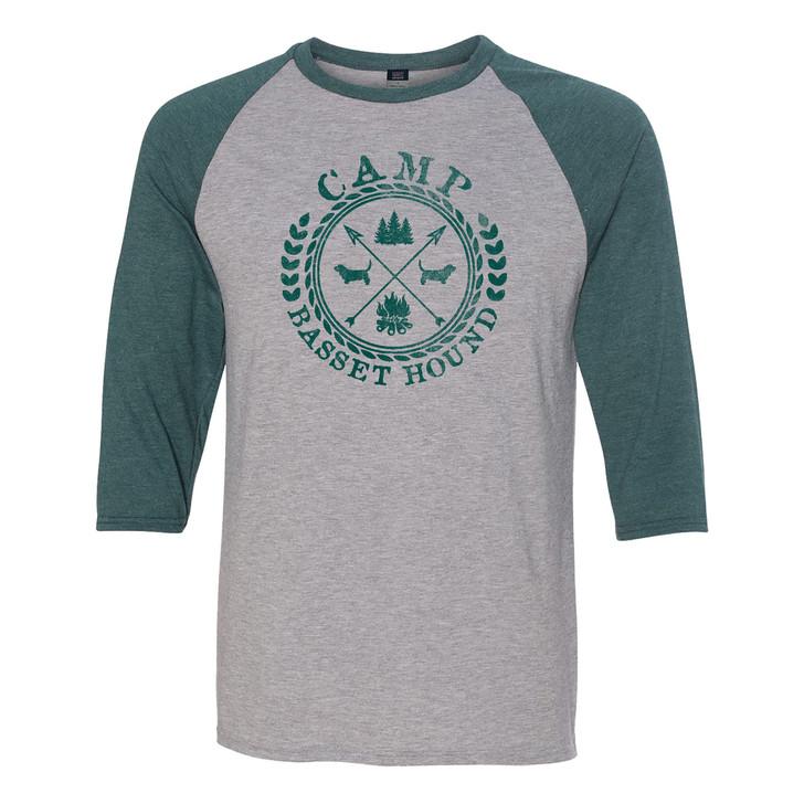 Camp Basset Hound  baseball shirt