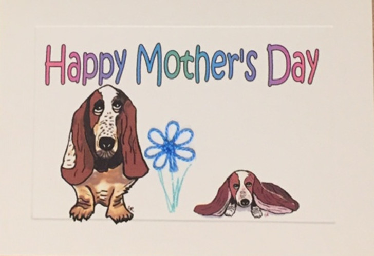 Basset Hound Tatted Lace Mother's Day Card