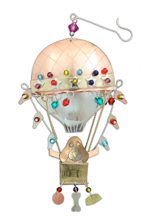 Hot Air Balloon Basset Hound Ornament