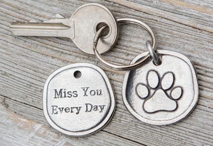 Pawprints left by You Memorial Keychain