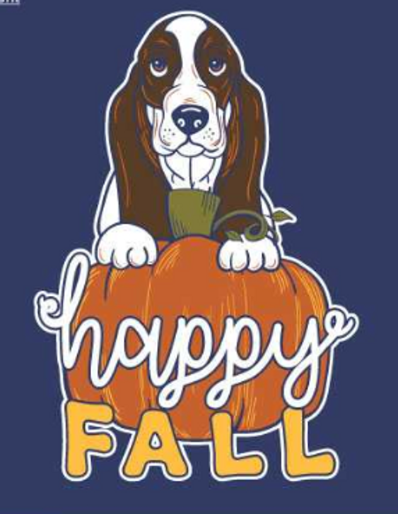 happy fall basset pumpkin t-shirt