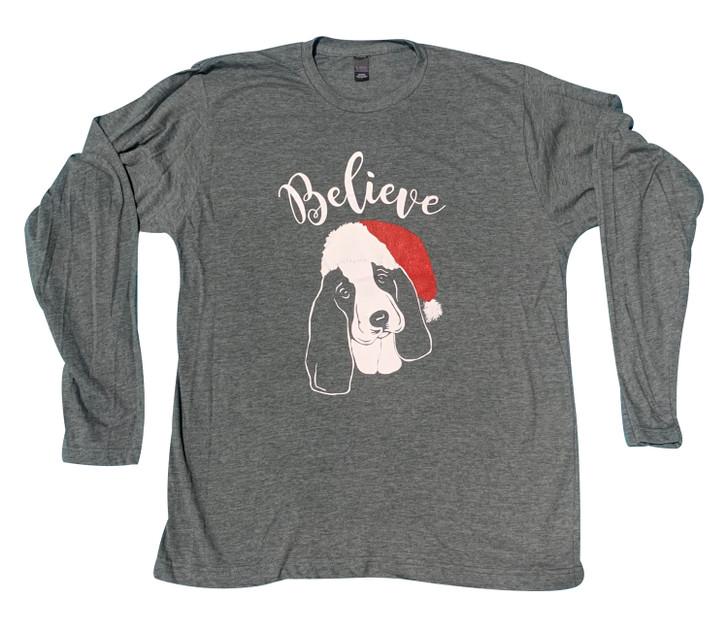 Believe Santa Basset Hound shirt