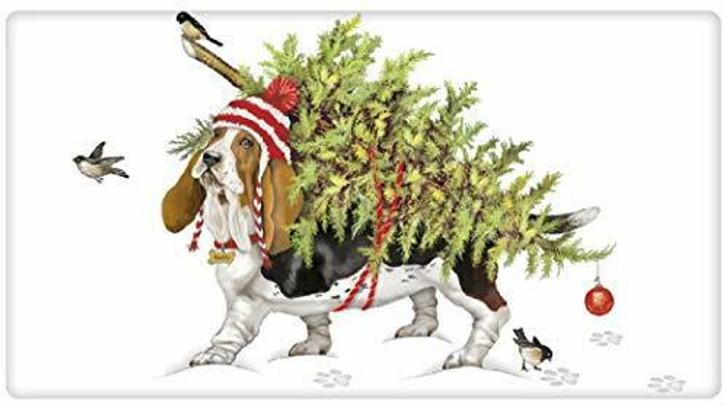 Basset hound with tree towel