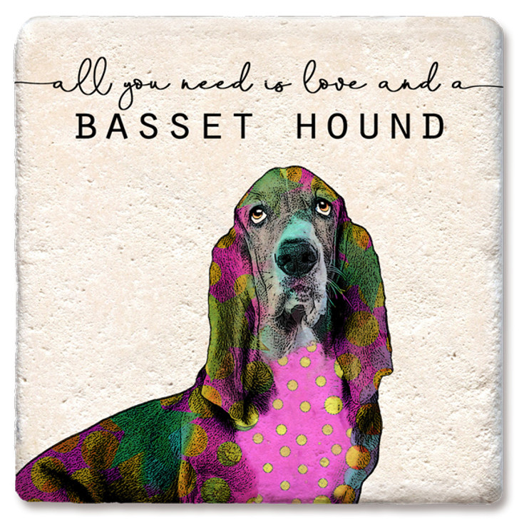 All you need is love basset hound coaster