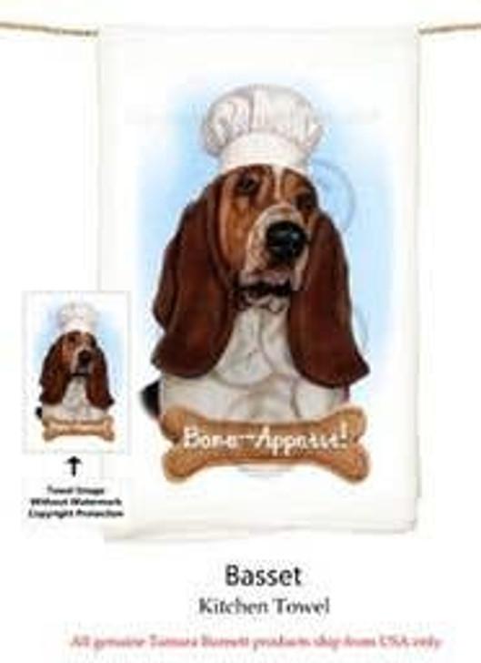 basset hound chef towel