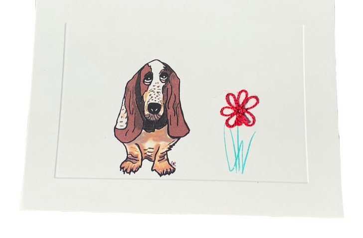 tatted lace basset hound blank card