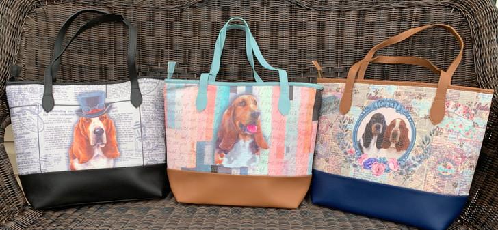Basset hound vegan handbag