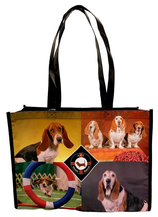 basset hound reusable tote bag