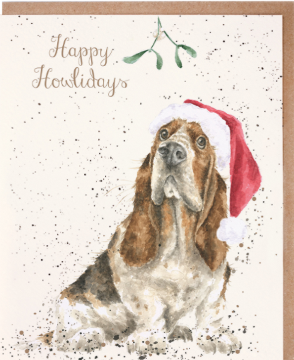 Happy howlidays basset card wrendale designs