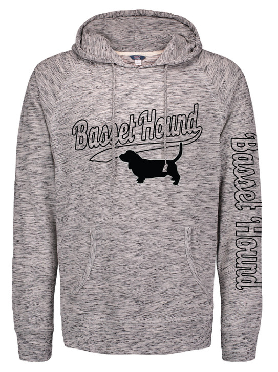 flocked basset hooded t-shirt