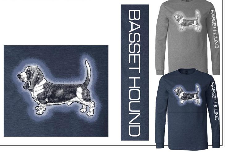 Long sleeve basset hound t-shirt