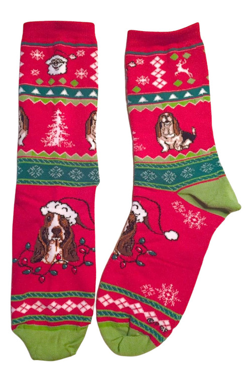 christmas basset socks