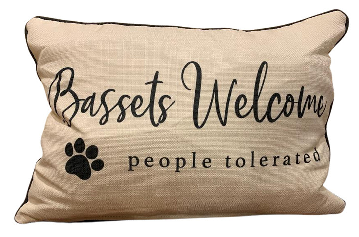 bassets welcome pillow