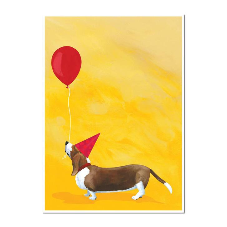 basset balloon birthday card