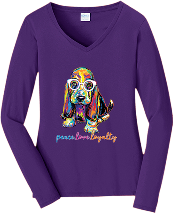 peace love loyalty basset hound purple shirt