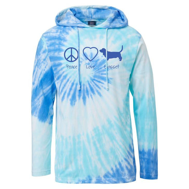 peace love basset tie dye hooded tee