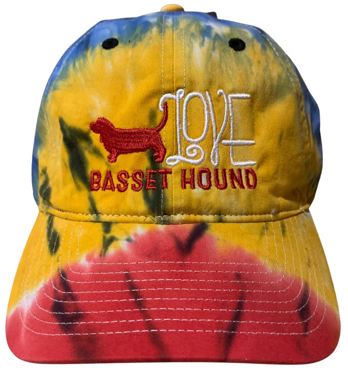 Tie dye cap basset hound