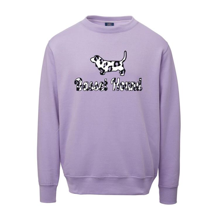 basset hound purple leopard crew