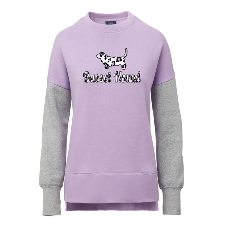 basset hound purple leopard sweatshirt