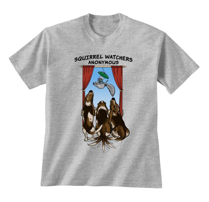 basset hound squirrel watchers t-shirt