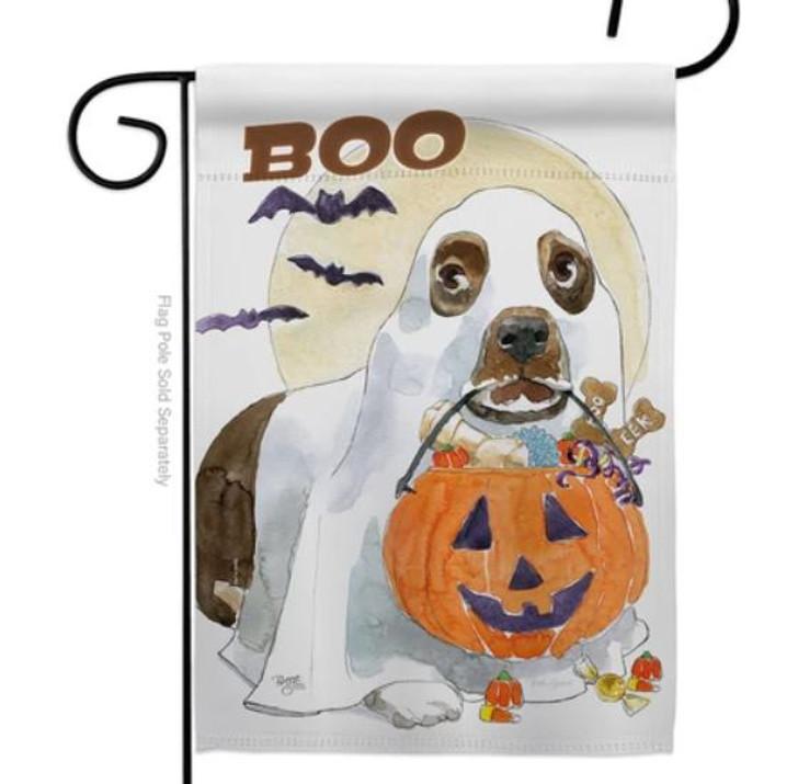 basset halloween flag