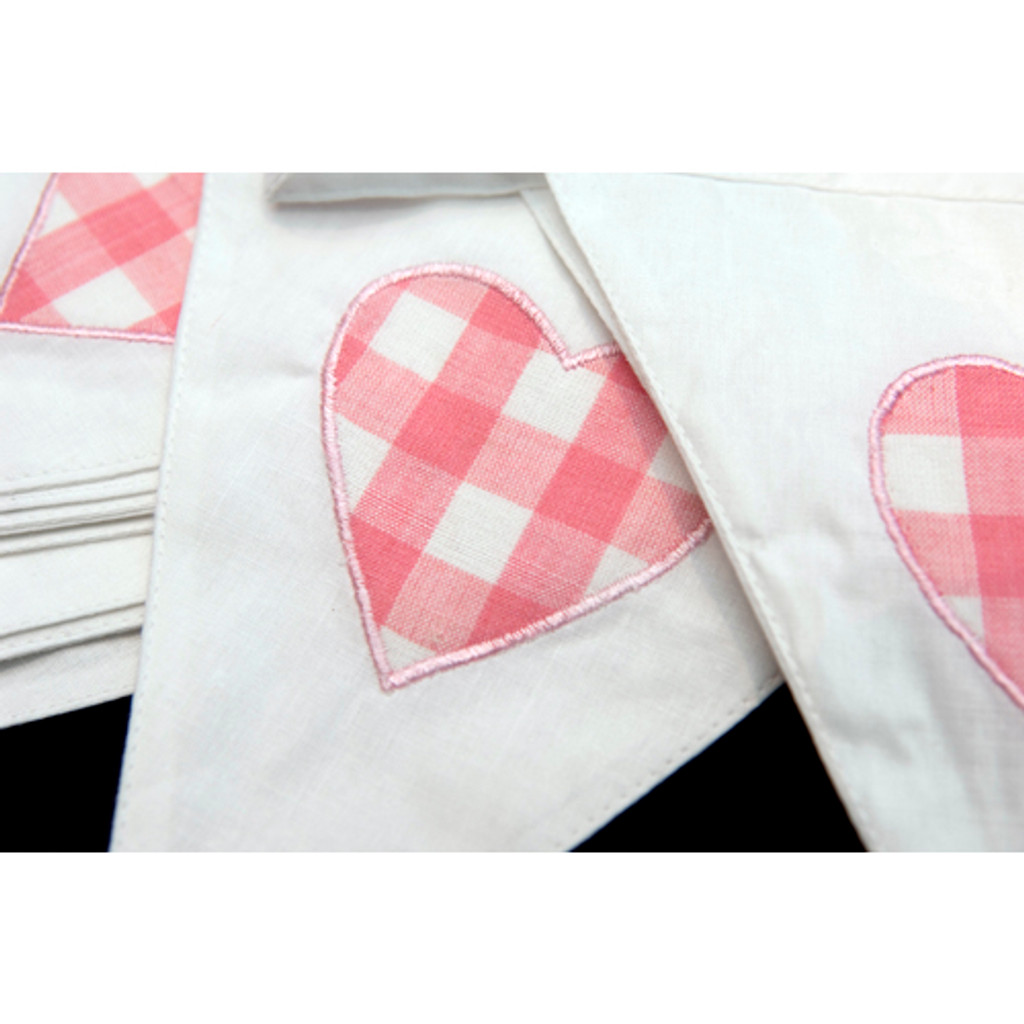 Pink Heart Fabric Bunting