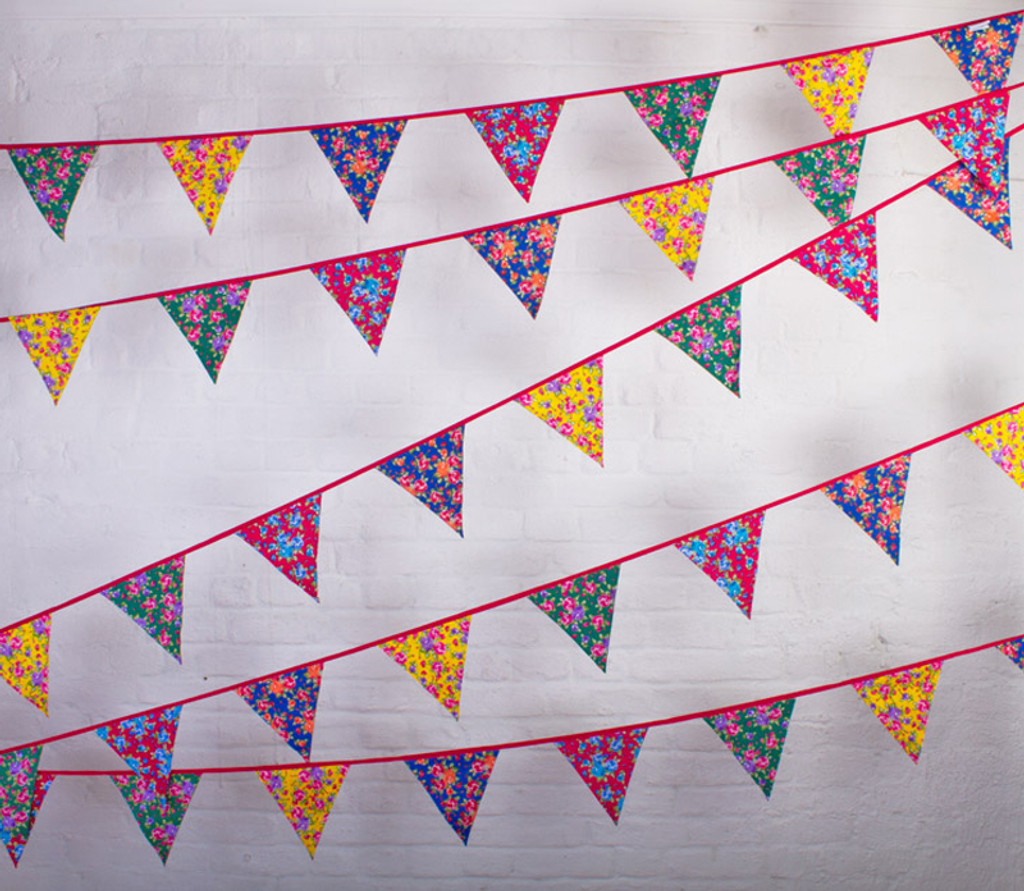 Bright Multi-Coloured Floral Wedding Bunting