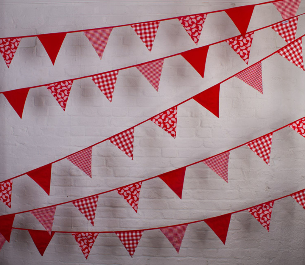 Red Paisley Fabric Cotton Bunting