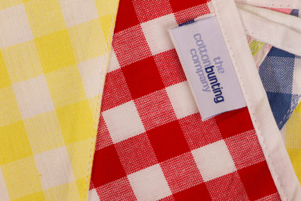 Large Gingham Check Bunting Close Up