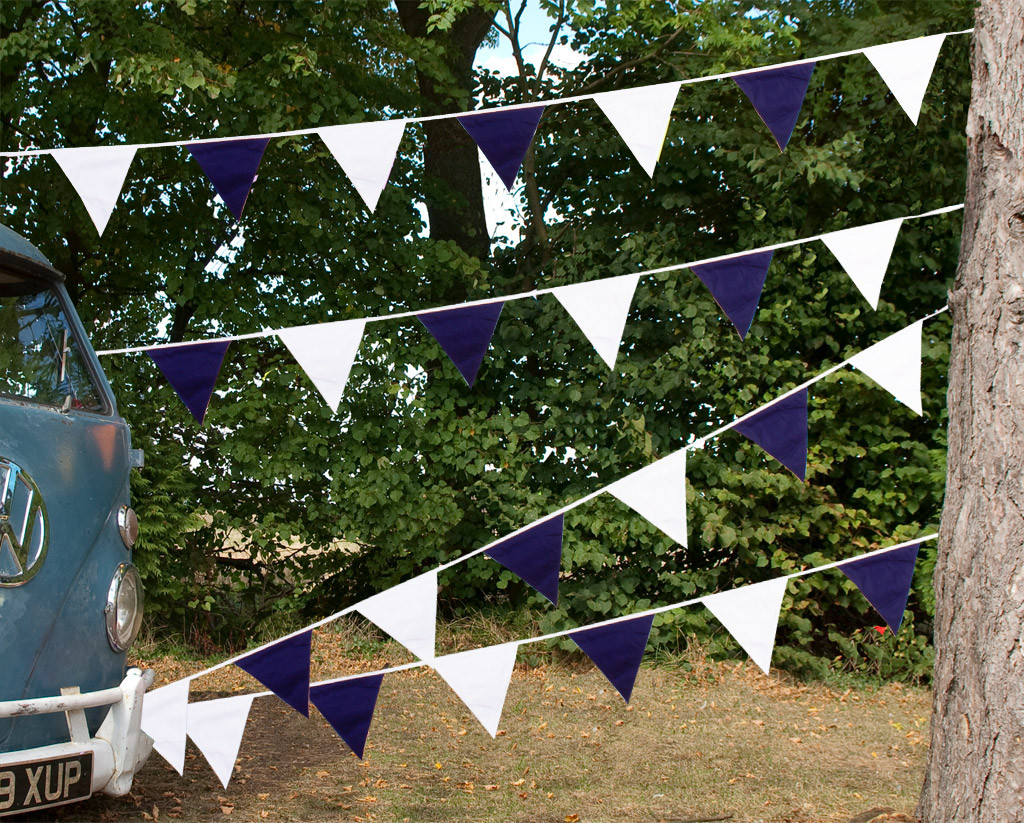 Navy Blue and White Bunting Camper Van