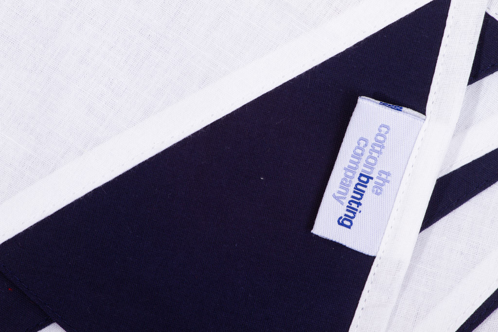 Navy Blue and White Bunting Close Up