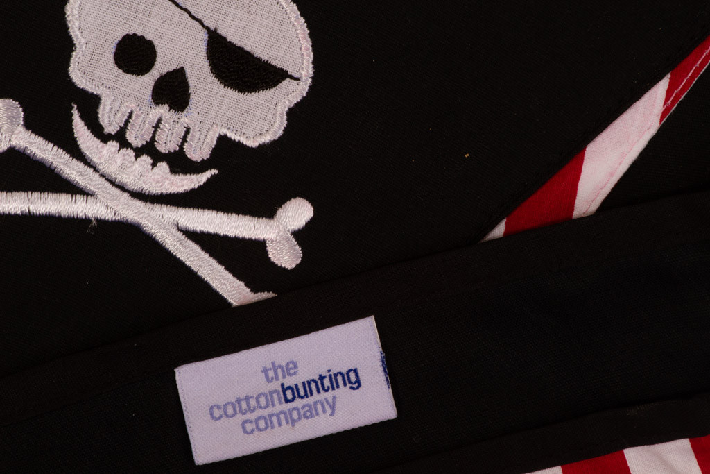 Pirate 'Jolly Roger' Skull and Cross Bones Bunting Close Up
