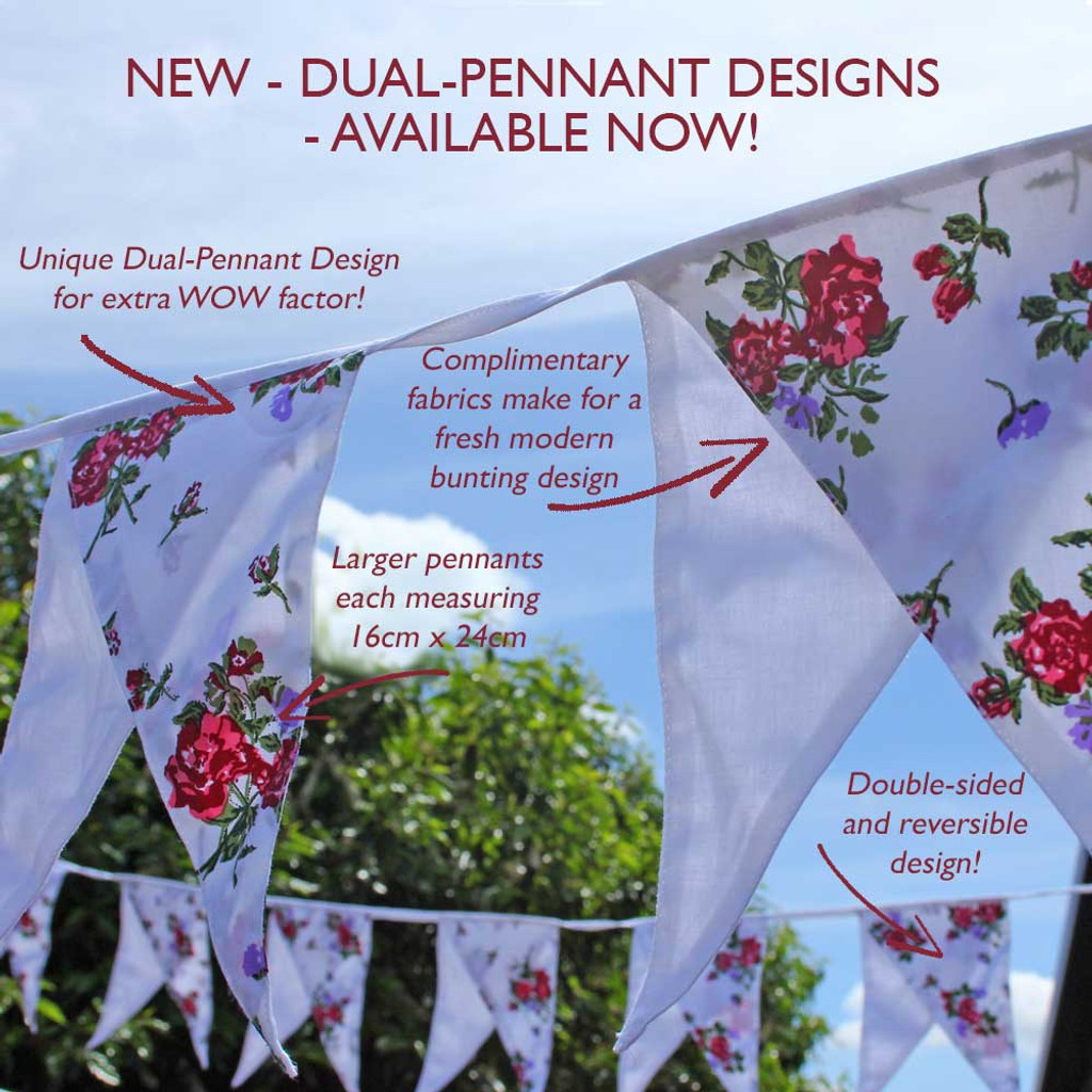 Floral and White Dual Pennant Bunting Detail