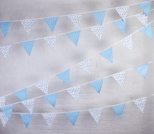 Blue Floral Forget-Me-Not Fabric Cotton Bunting