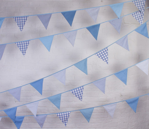 Blue gingham fabric cotton bunting