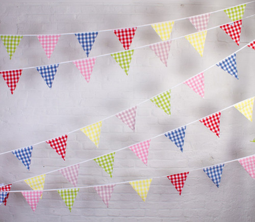 Large Gingham Check Fabric Bunting