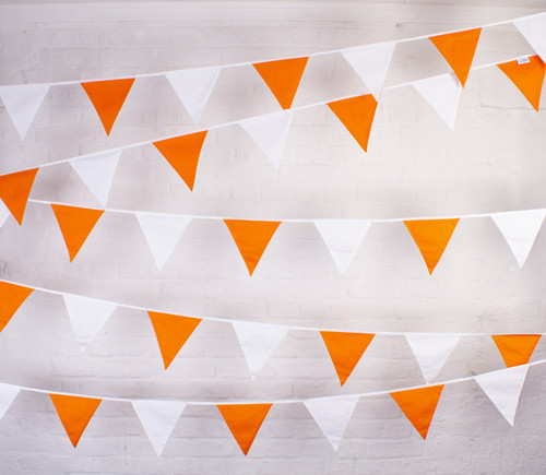 Orange and White Fabric Bunting