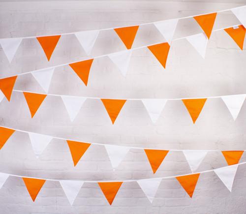 Orange and White Fabric Bunting