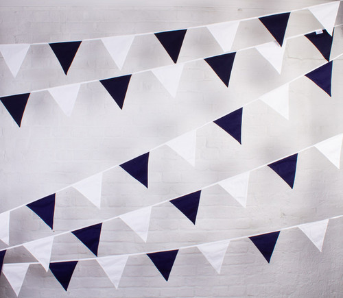 Navy Blue and White Bunting Hanging