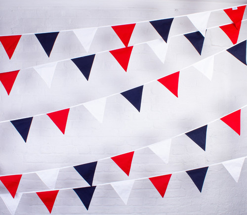 Red White & Blue Cotton Bunting for VE Day Celebrations and street parties