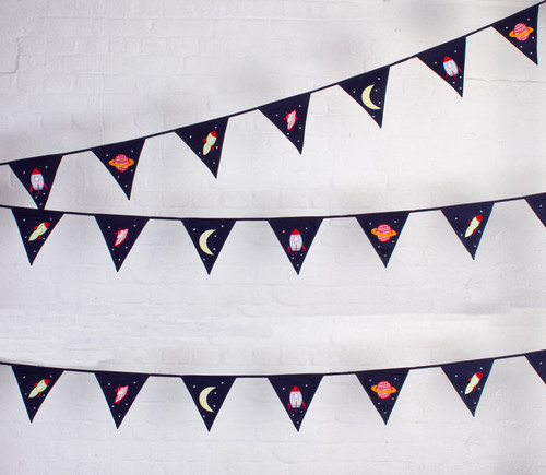 Space Rockets Aliens Fabric Bunting